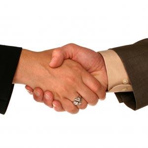 Shaking hands in Arabic