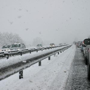 Snow on an Italian highway
