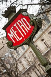 French metro station in front of a hotel